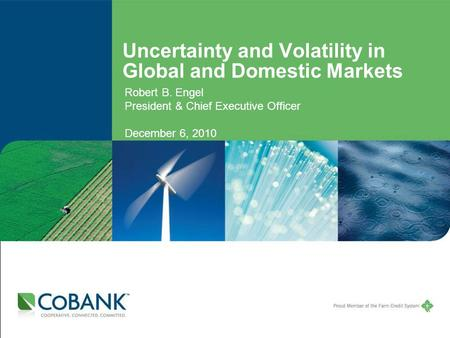 Uncertainty and Volatility in Global and Domestic Markets Robert B. Engel President & Chief Executive Officer December 6, 2010.