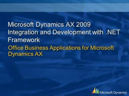 Office Business Applications for Microsoft Dynamics AX