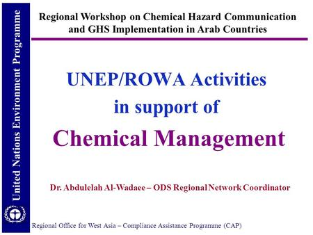 United Nations Environment Programme Regional Office for West Asia – Compliance Assistance Programme (CAP) UNEP/ROWA Activities in support of Chemical.