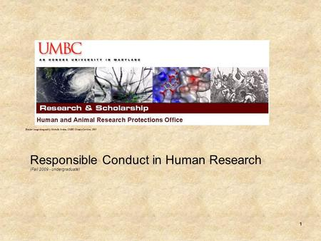 1 Responsible Conduct in Human Research (Fall 2009 - undergraduate) Header image designed by Michelle Jordan, UMBC Creative Services, 2009.