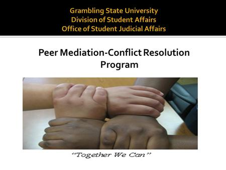Peer Mediation-Conflict Resolution Program. The Office of Student Judicial Affairs is excited about facilitating a Peer Mediation/Conflict Resolution.