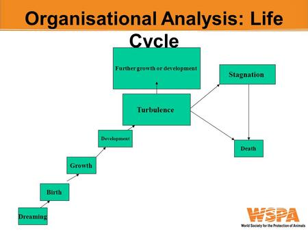 Organisational Analysis: Life Cycle Dreaming Birth Growth Development Turbulence Further growth or development Stagnation Death.