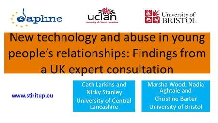 New technology and abuse in young peoples relationships: Findings from a UK expert consultation Marsha Wood, Nadia Aghtaie and Christine Barter University.