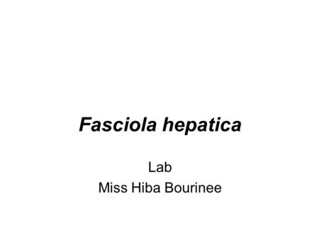 Fasciola hepatica Lab Miss Hiba Bourinee.