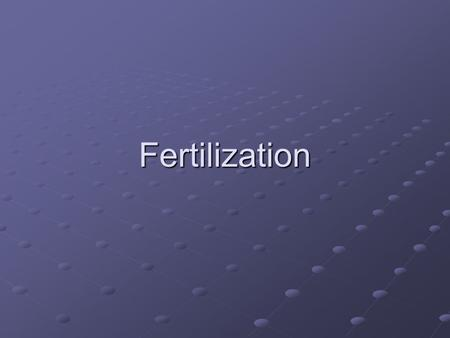 Fertilization.