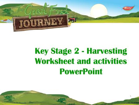 Key Stage 2 - Harvesting Worksheet and activities PowerPoint 1.