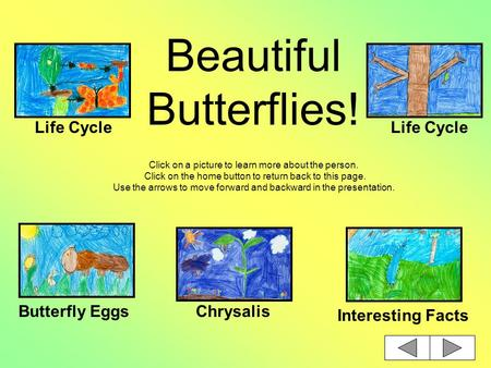 Beautiful Butterflies! Click on a picture to learn more about the person. Click on the home button to return back to this page. Use the arrows to move.