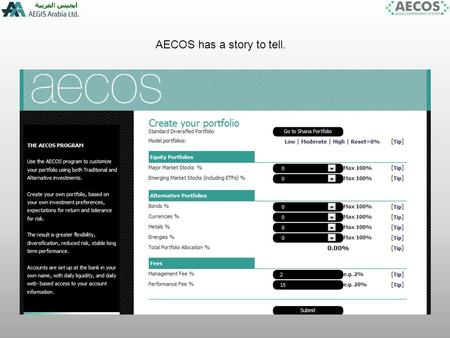 AECOS has a story to tell.. The AECOS program can do the following for investors: Gives accurate return estimates of the separate component parts of the.