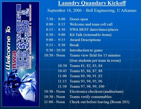 Laundry Quandary Kickoff September 16, 2006 – Bell Engineering, U Arkansas 7:30 - 8:00Doors open 8:00 - 8:15Welcome and team roll call 8:15 - 8:30NWA BEST.