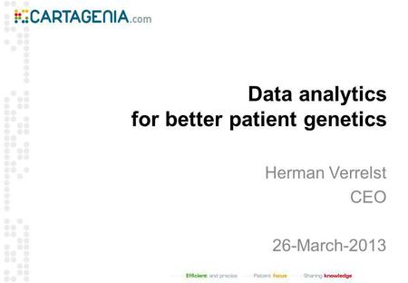 Data analytics for better patient genetics