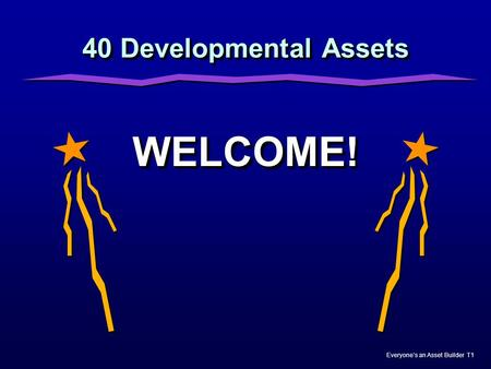 40 Developmental Assets WELCOME! Nicole.