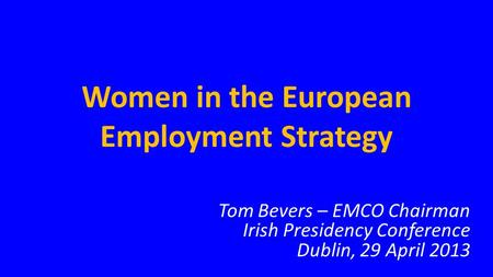 Women in the European Employment Strategy