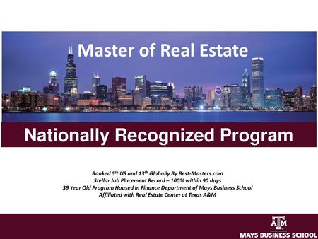 Master of Real Estate Nationally Recognized Program