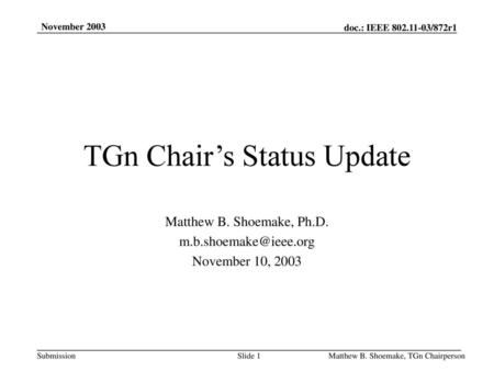 TGn Chair's Status Update