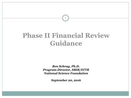 Phase II Financial Review Guidance