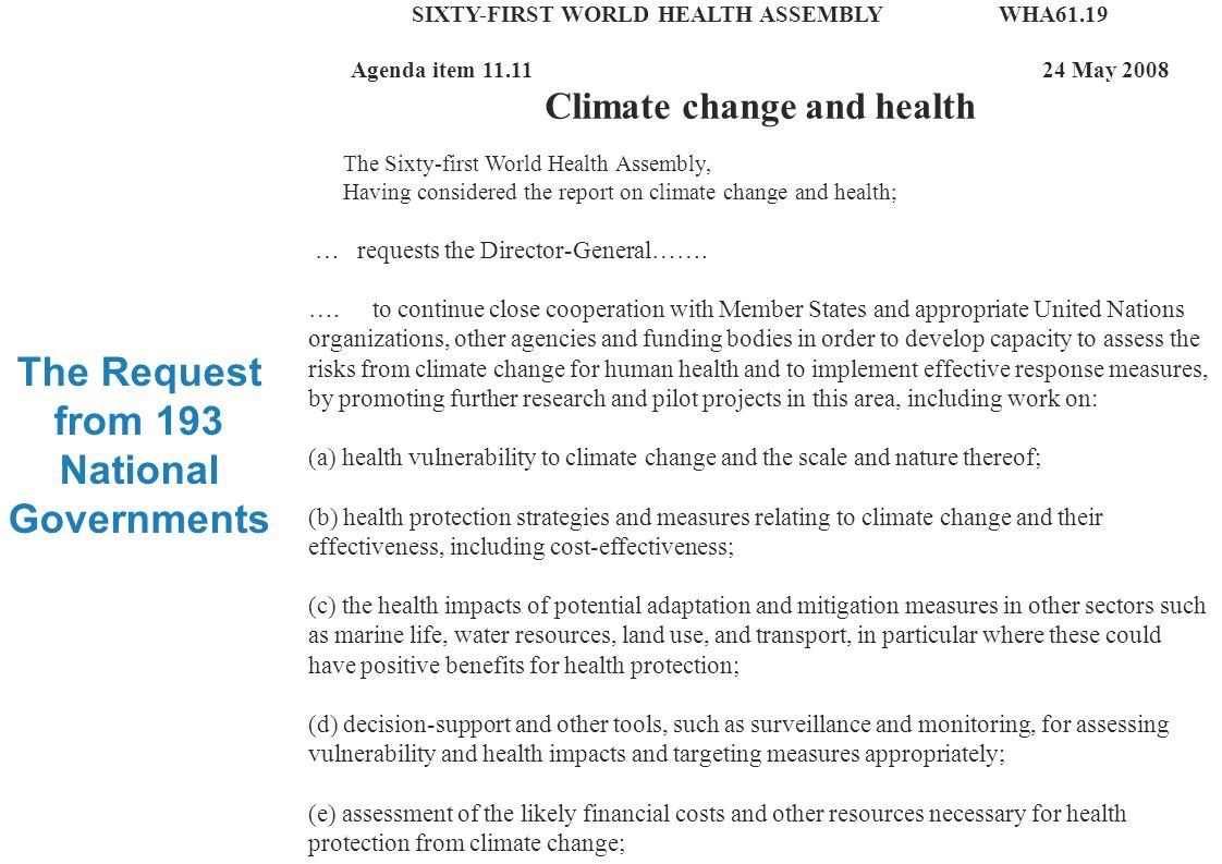 Climate change and health research 4 |4 | The current situation Research on climate change and health is increasing rapidly, but lags far behind more traditional risk factors.