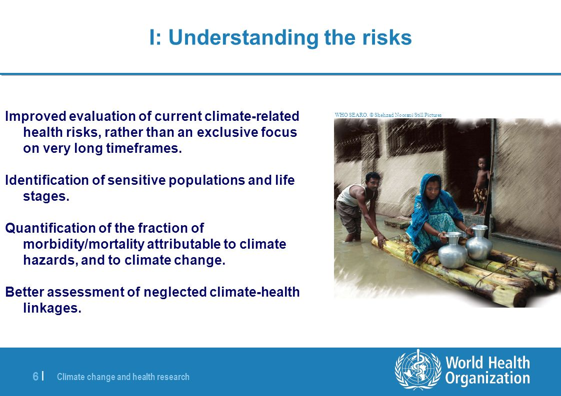 Climate change and health research 7 |7 | II: Identifying the best interventions Systematic reviews of the evidence-base for existing interventions.