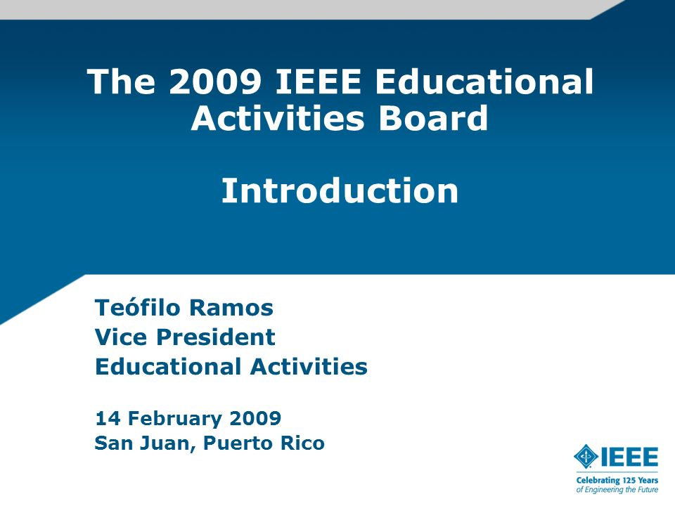 Teófilo Ramos Director of Institutional Effectiveness and Registrar, Tecnologico de Monterrey, Mexico, since 2001 Dean of Research and Continuing Education, Tecnologico de Monterrey - 1998-2000 Dean of Engineering and Architecture, Tecnologico de Monterrey - 1982-1997 Chairman of the Electrical Engineering Department, Tecnologico de Monterrey - 1976-1982