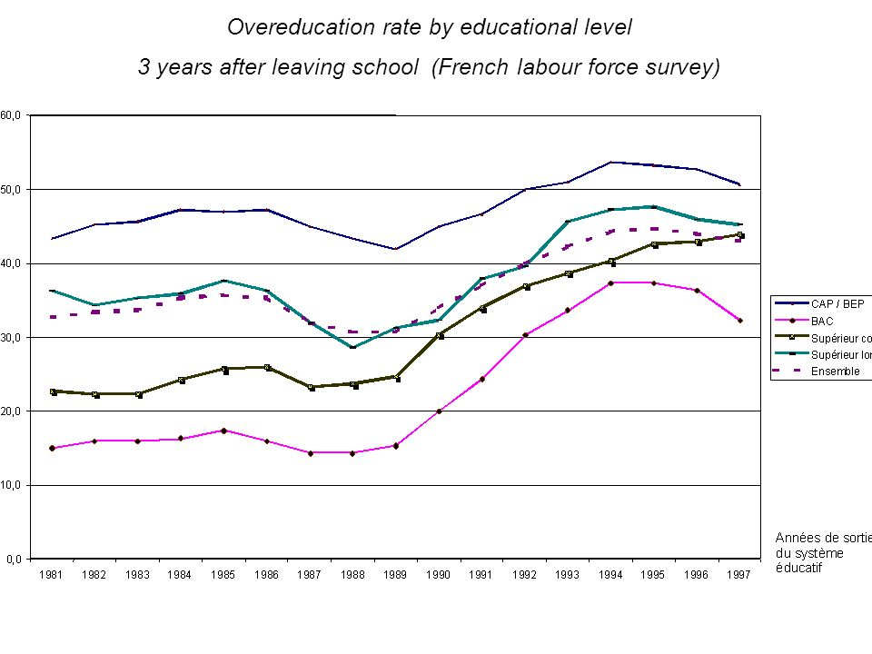 5 Over education rate evolution (longitudinal approach by generation of school leavers)
