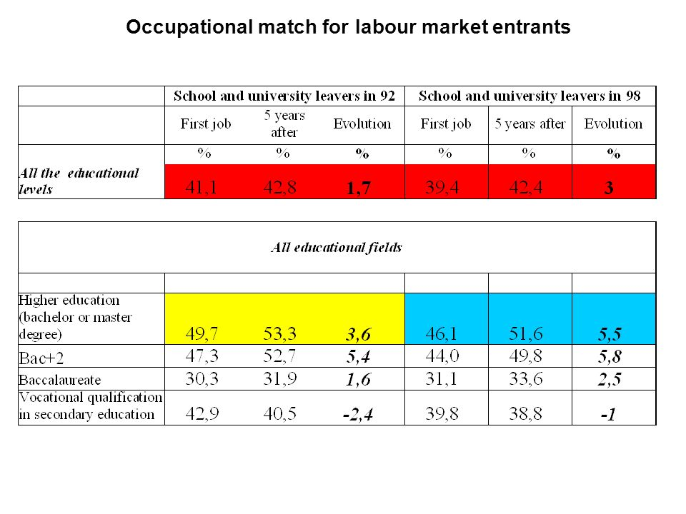 7 The « double mismatch » First job obtained after leaving school (graduates) Only 32 % among young people see their qualification match and their job specialization match !