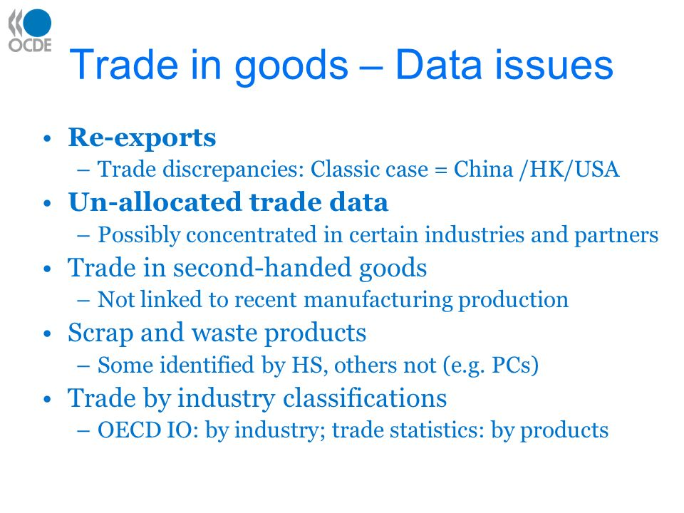 China-US: trade discrepancies (official statistics, billion USD) Year US exports to China (US data) Chinese imports from the US (Chinese data) US imports from China (US data) Chinese exports to the US (Chinese Data) US- China trade balance (US data) US- China trade balanc e (Chine se data) 199511.716.145.624.7-33.8-8.6 200222.127.2125.270.0-103.1-42.8 Source: Fung and Lau (2003) Table1