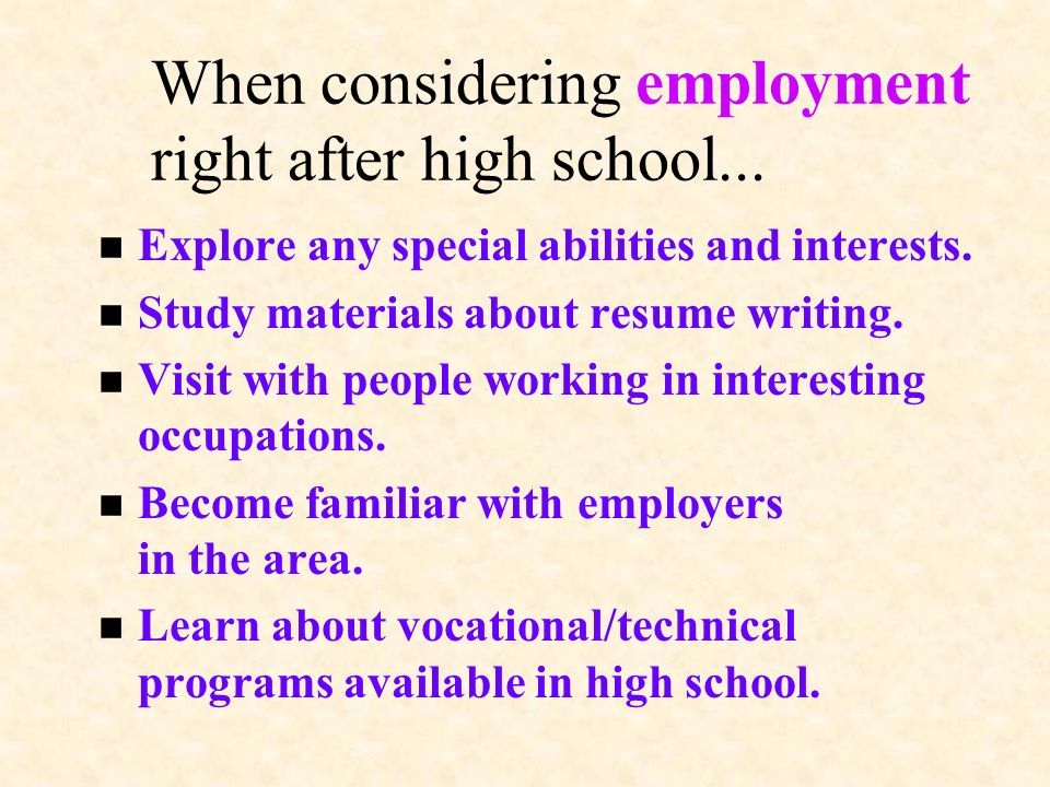 If college is an option… Financial help will be available