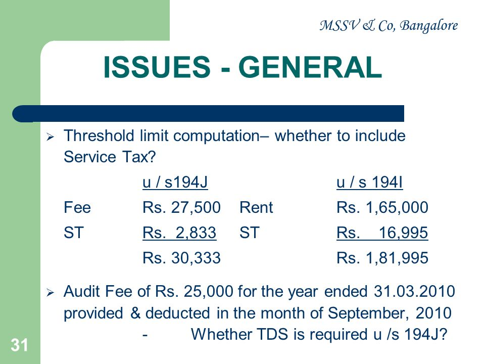 MSSV & Co, Bangalore 32 ISSUES - GENERAL The entries in the books of accounts for MIS purposes.