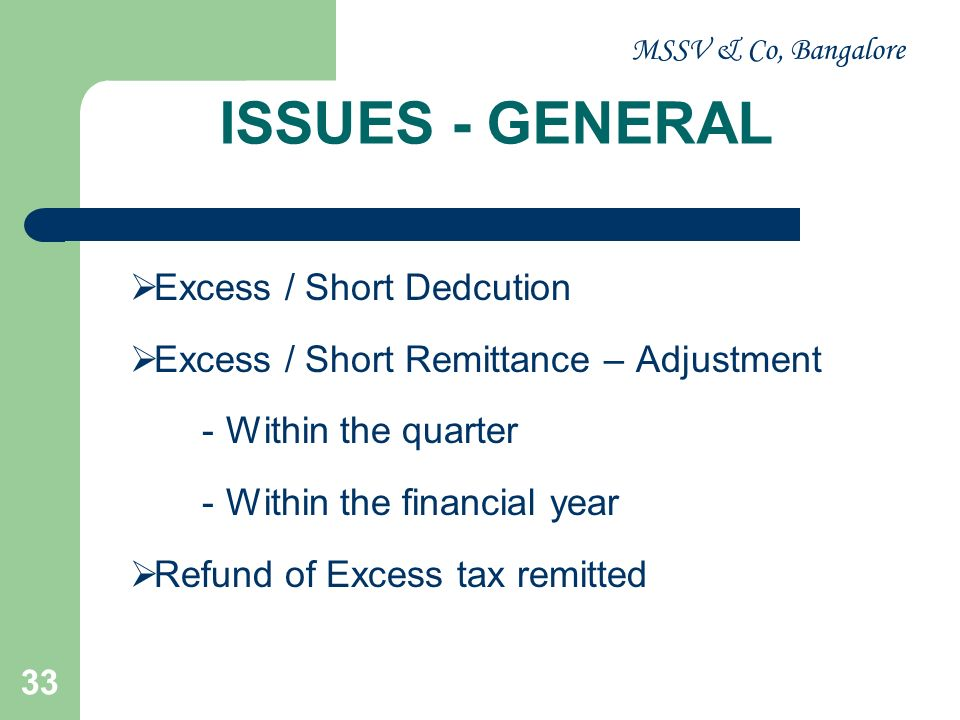 MSSV & Co, Bangalore 34 ISSUES - GENERAL Defaults o Non deduction o Short deduction o Non Remittance o Short Remittance o Delay in Remittance