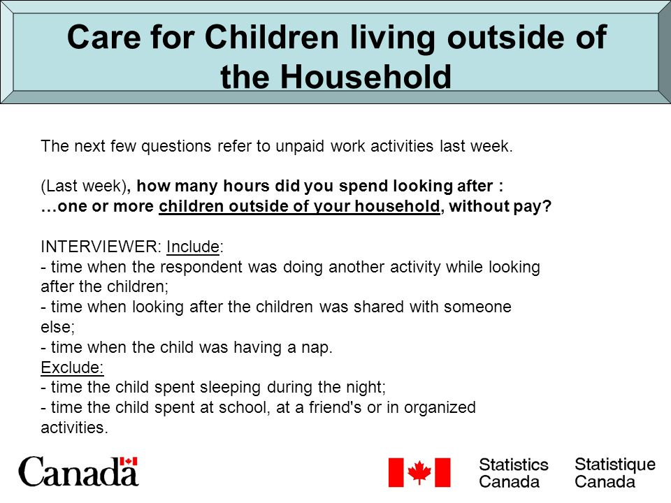 Childcare estimates Time Diary Active childcare by participants: Men: 12.6 hours/week Women: 18.9 hours/week Unpaid Work Module Care of children in HH by participants: Men: 22.8 hours/week Women: 48.7 hours/week Care of children out of HH by participants: Men: 1.7 hours/week Women: 3.5 hours/week Total childcare Men: 24.5 hours/week Women: 52.2 hours/week