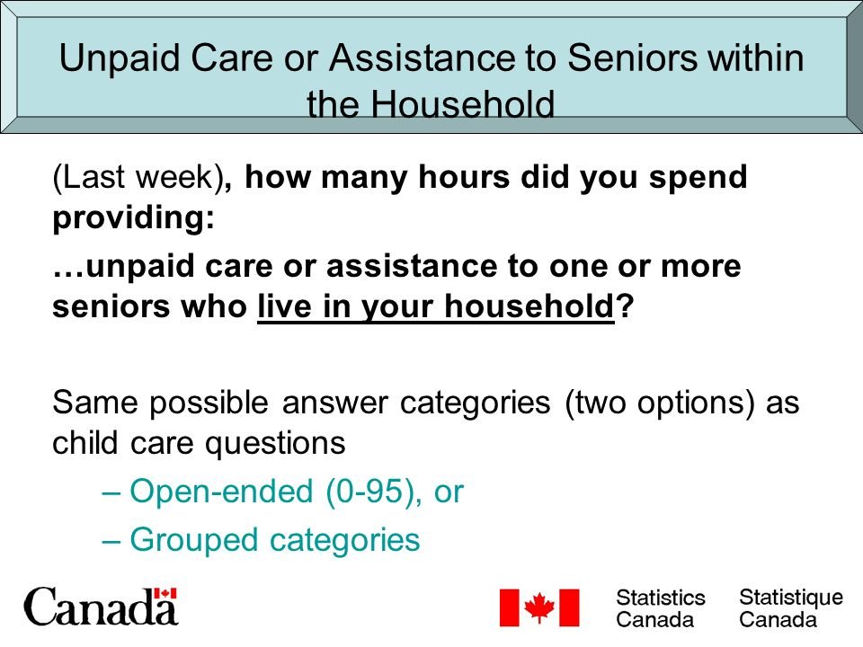 Unpaid Care or Assistance to Seniors outside the Household (Last week), how many hours did you spend providing: …unpaid care or assistance to one or more seniors who live outside of your household.