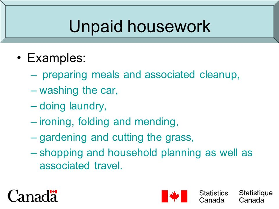 Comparison of two sources Time use survey 24 hour diary required Detailed breakdown of types of housework.