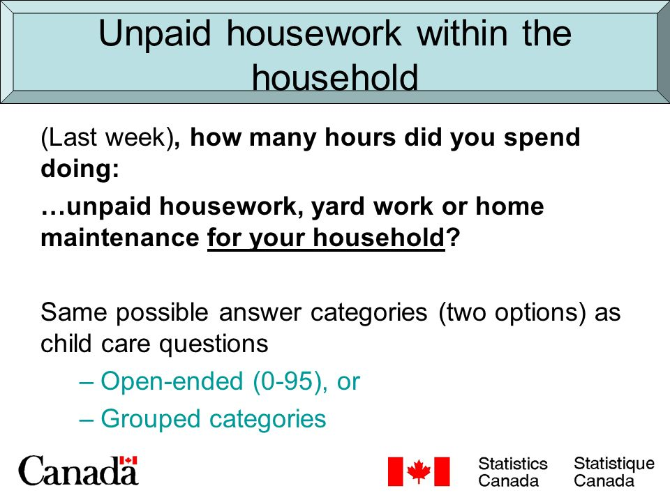 Unpaid housework outside the household (Last week), how many hours did you spend doing: …unpaid housework, yard work or home maintenance for persons who live outside your household.