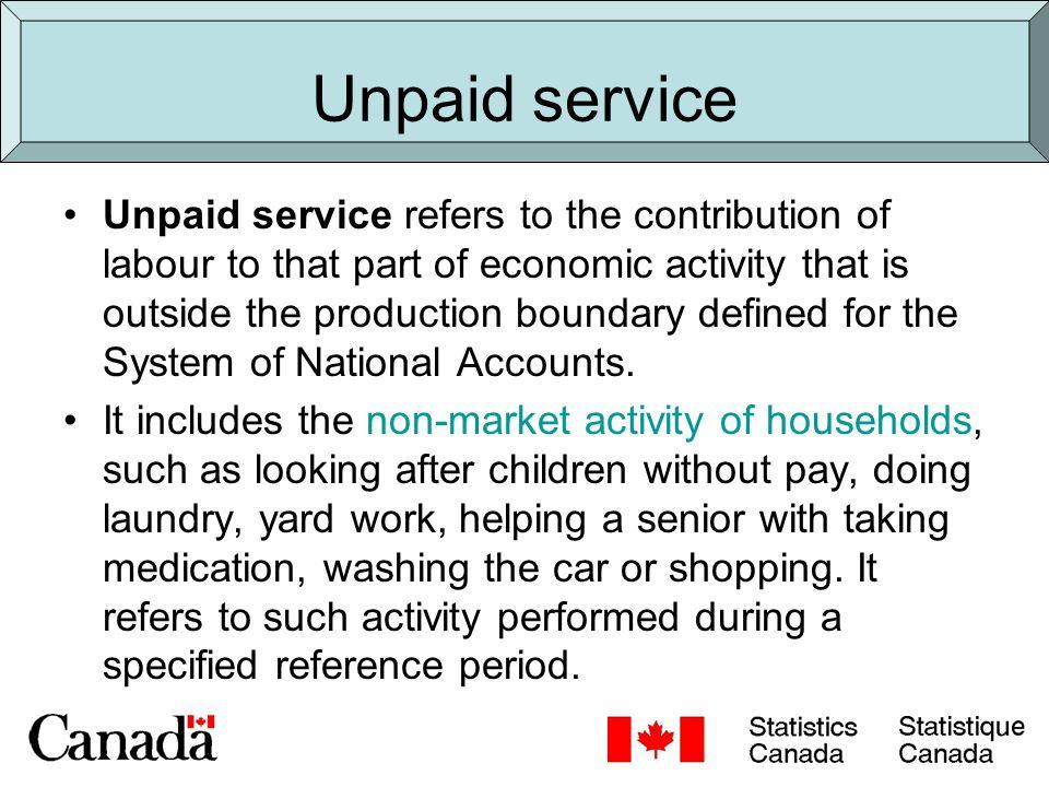 Unpaid work Good to distinguish between: –Unpaid work for household members –Unpaid work for members of other households –Unpaid volunteer work for an organization