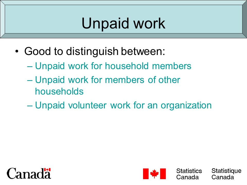 Using Time Use data Example: Valuation of unpaid work (SNA) Time use data Calculate time spent in unpaid work Apply a market occupational value to that time to estimate value of unpaid work –Canada, 1998: Equivalent to 1/3 of GDP