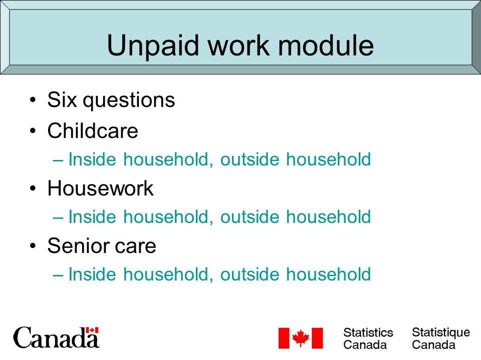 Types of unpaid care Unpaid child care Unpaid care or assistance to seniors (Unpaid care to other adults - not currently collected in the Canadian General Social Survey or Census)