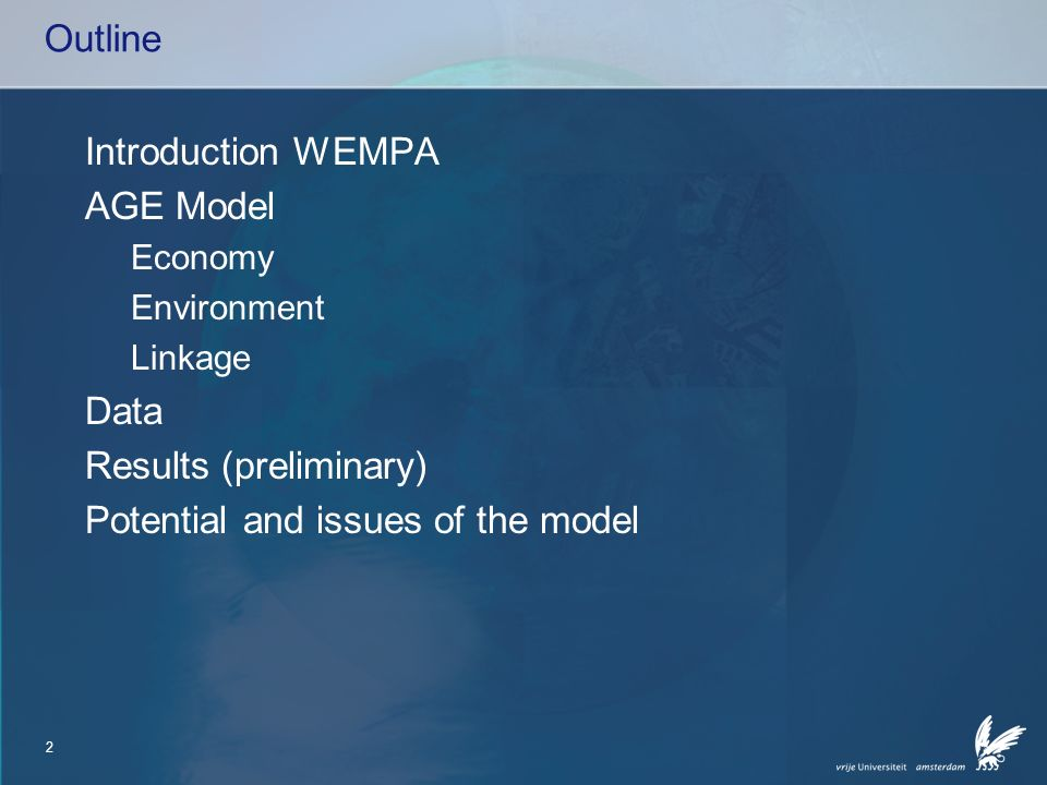 3 Introduction WEMPA The Directorate-General Water of the Ministry of Transport, Public Works and Water Management would like to have insight in direct and indirect economic costs of WFD measures.