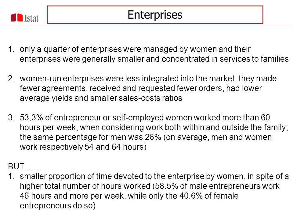 The activities inside and outside home lead to double burden, and the overload of work prevents female entrepreneurs from dedicating appropriately to their enterprises The situation does not seem to show signs of important improvements in last years The results from the Labour Cost Survey (LCS) carried out in 2004, that for the first time collected information on the sex of the entrepreneur, confirm that the women-run enterprisers play a role that is still secondary respect to the mens ones Results from the time budget survey show a persistent asymmetry between the commitment of women and men in terms of familiar work, even if we can observe that participation of men to the domestic work is slowly increasing The workload inside home continues to have a big relevance in explaining the reality of women-run enterprises Enterprises