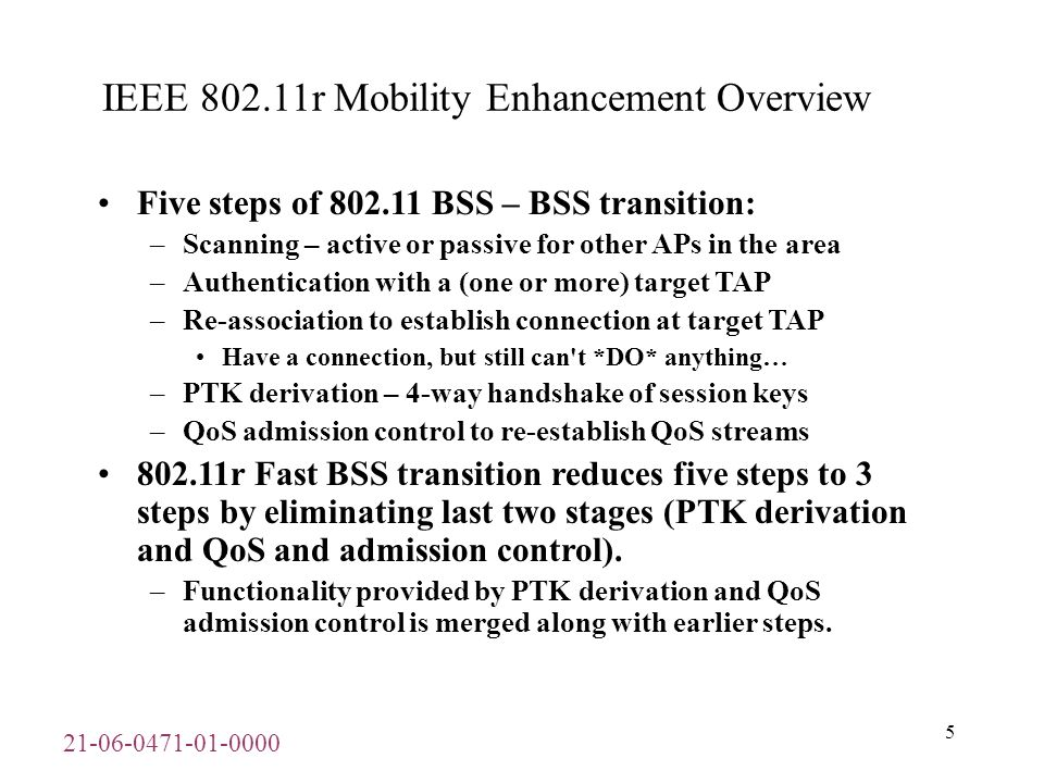 21-06-0471-01-0000 6 IEEE 802.11r Mobility Enhancement Overview –cont 802.11r describes following two types of inter-BSS transition.