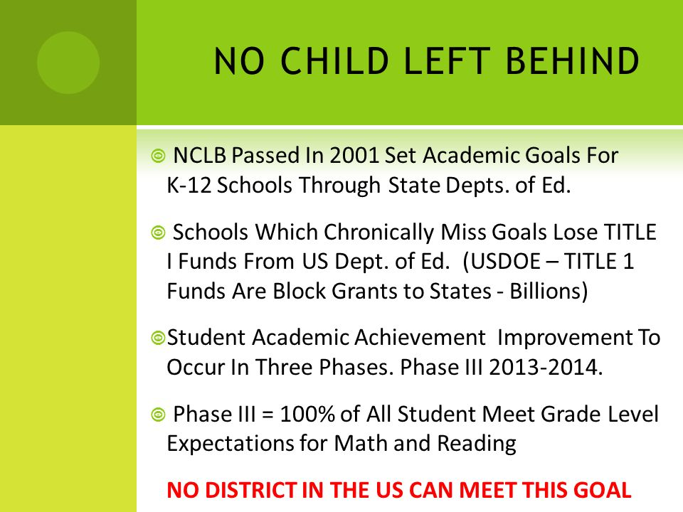 NCLB WAIVERS Feds Could Not Politically Admit NCLB Was Broken – Created NCLB Waiver System Each State Can Apply for a NCLB Waiver But Application Includes (Key Points & Simplified): Adoption of New, More Academically Rigorous Curriculum 2014-2015.