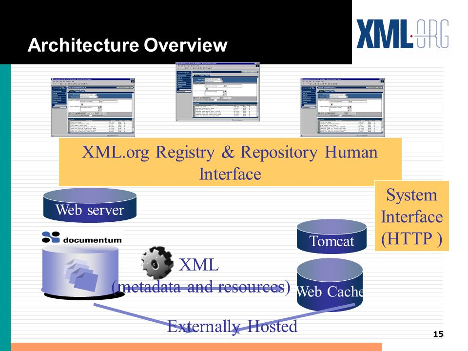 16 Architecture Overview - Next Steps Web Cache Tomcat XML (metadata and resources) Web server XML.org Registry & Repository Human Interface System Interface (HTTP ) Externally Hosted XML