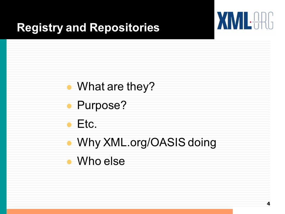 5 Registry and Repository Overview l Based on the work of OASIS Registry and Repository Technical Committee - chaired by Terry Allen CommerceOne l Prototype Implemented by Documentum and Sun with the help of many others l Specification used ISO 11179 as basis