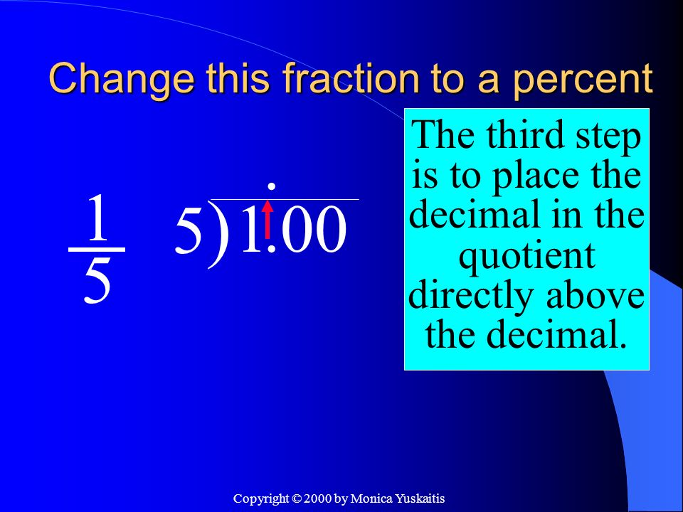 Copyright © 2000 by Monica Yuskaitis Change this fraction to a percent 1 5 The fourth step is to divide using long division.