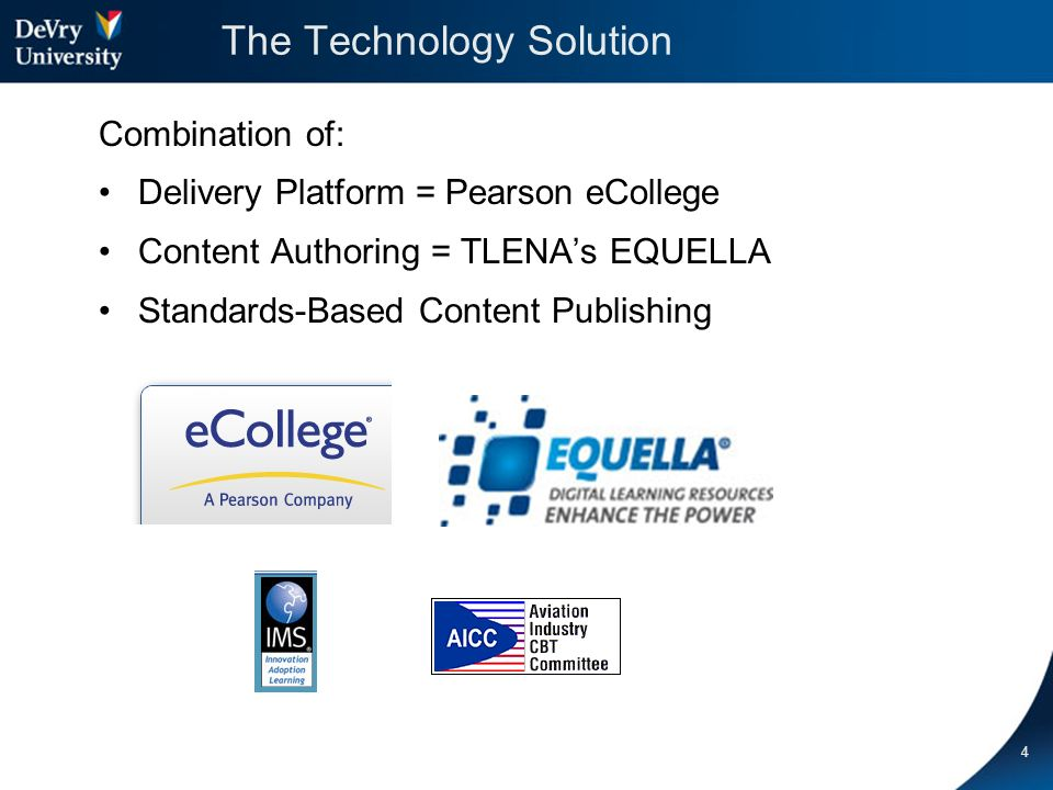 5 The Technology: Delivery Platform Why did DeVry select Pearson eCollege as a Delivery Platform.