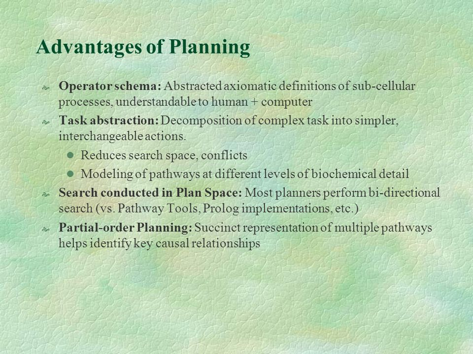 Advantages of Planning (contd.) Conditional effects can be used to model special cases ( exceptions ) when applying operator schema Resource Utilization can be used to model quantitative aspects such as amplification of a signal, feedback and feed-forward loops Plan re-use: Old plans can be successfully inserted into new ones (if initial and final conditions are met )without additional computation