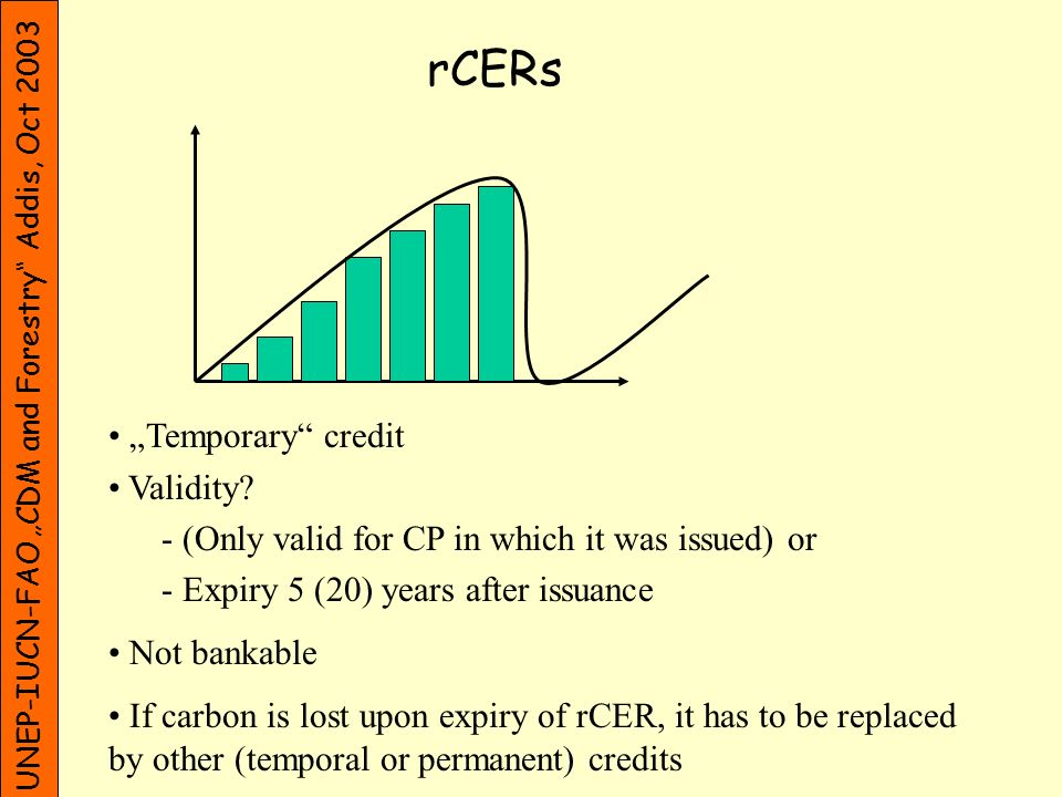 UNEP-IUCN-FAO CDM and Forestry Addis, Oct 2003 tRMUs Temporary credit converted CER from forest CDM project (after 2% for adaptation fund subtracted) Validity.