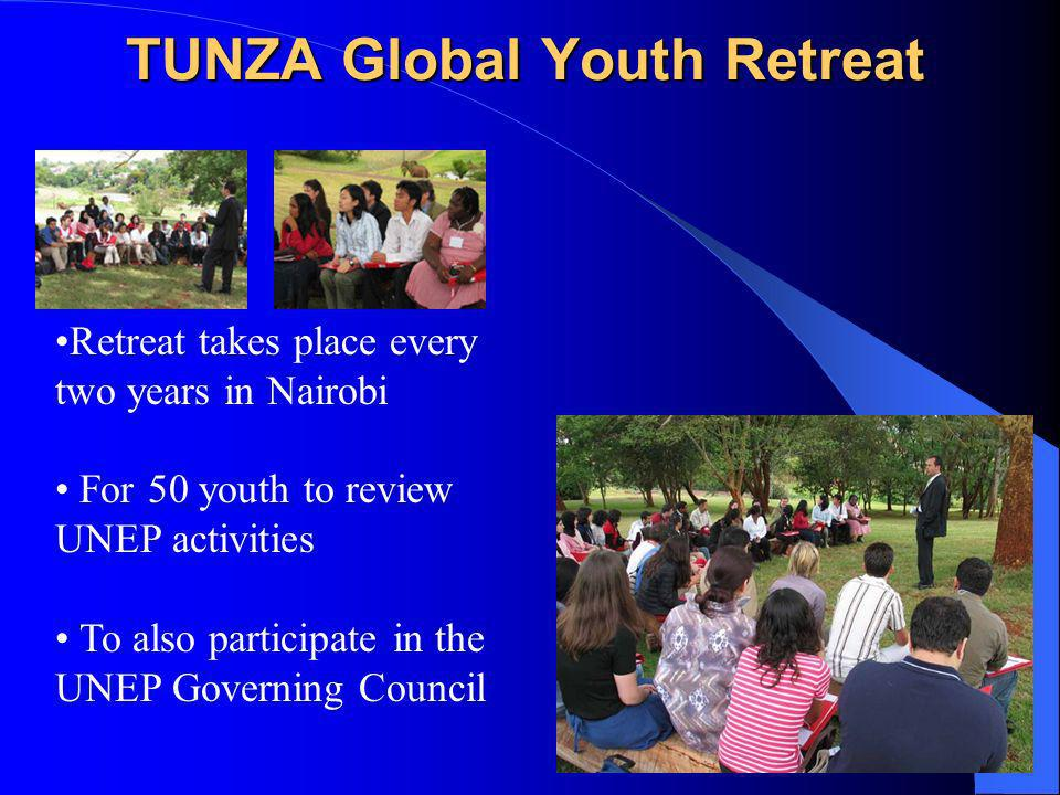 TUNZA Global Youth Retreat Retreat takes place every two years in Nairobi For 50 youth to review UNEP activities To also participate in the UNEP Governing Council