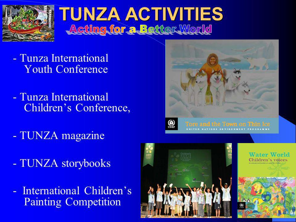 TUNZA ACTIVITIES TUNZA ACTIVITIES - Tunza International Youth Conference - Tunza International Childrens Conference, - TUNZA magazine - TUNZA storybooks - International Childrens Painting Competition