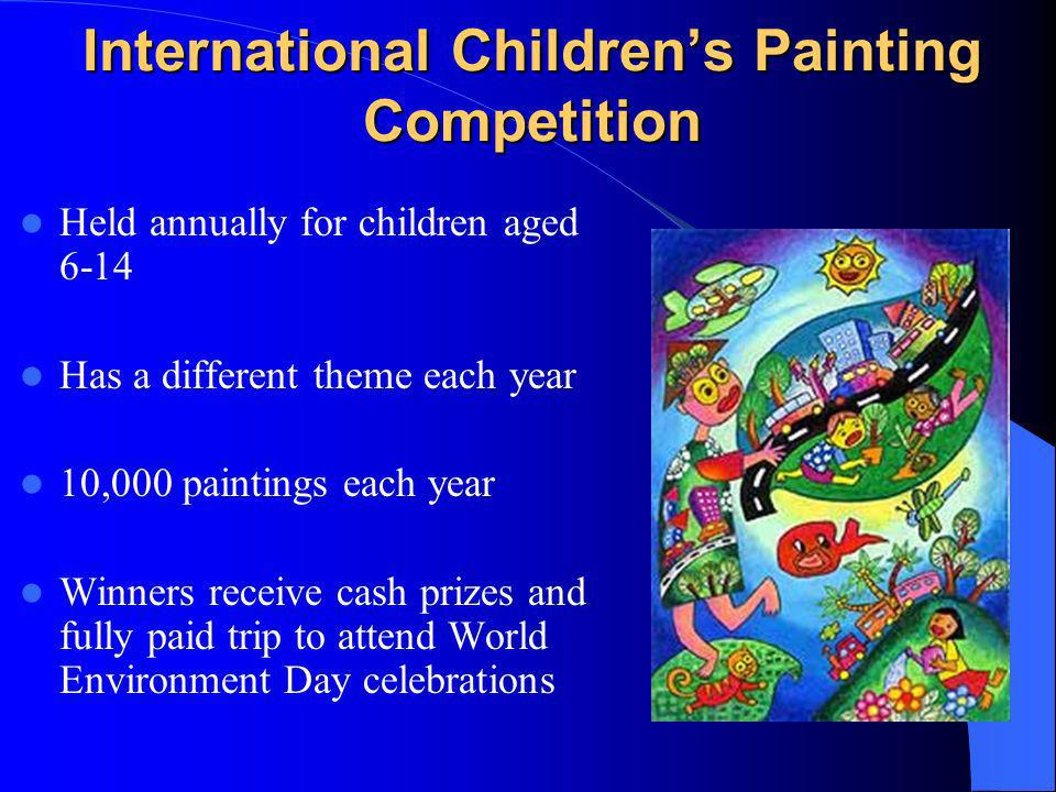 International Childrens Painting Competition Held annually for children aged 6-14 Has a different theme each year 10,000 paintings each year Winners receive cash prizes and fully paid trip to attend World Environment Day celebrations
