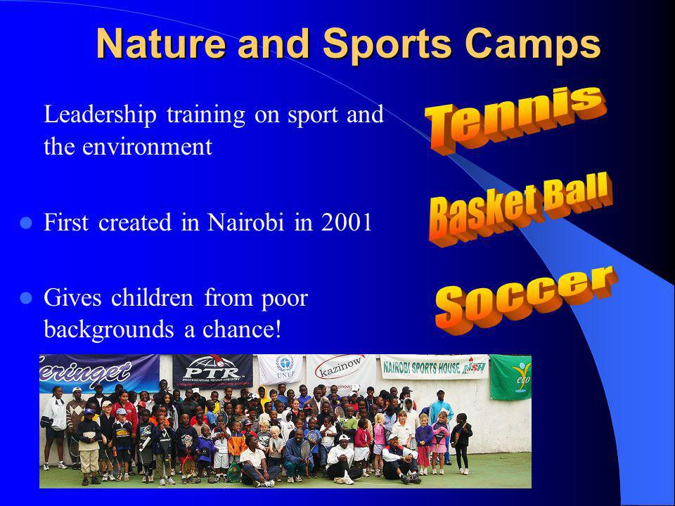 Nature and Sports Camps Leadership training on sport and the environment First created in Nairobi in 2001 Gives children from poor backgrounds a chance!