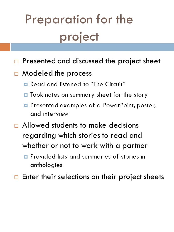 Example of Story Summaries